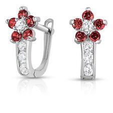 Birthstone Flower Gemstone Huggie Earrings Real 925 Sterling Silver Lever Back