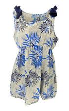 Debenhams Silky Fawn Sleeveless Empire Line Top with Blue Flower Print