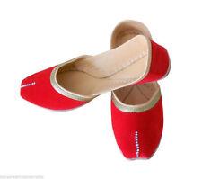Women Shoes Mojari Indian Handmade Leather Ballerinas Flat Red Jutties US 9.5-12