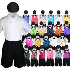 Boys Toddler Formal Vest Shorts Suits Satin Vest Black Bow Tie Hat 5pc Set S-4T