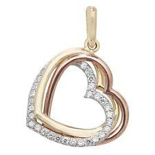 9ct Multi Colour Gold Cubic Zirconia Triple Heart Necklace
