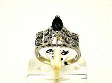 New 18K White Gold Green Brazilian Tourmaline & Diamond Ring .90 cts Size 6.5