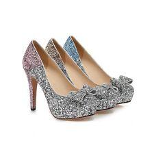 Womens Shoes Sequins Bowknot Mixed Color Platform High Heels Party Pumps S166