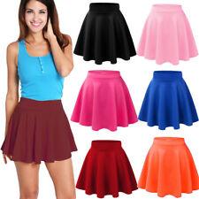 Womens Quality Mini Skater Pink Skirt Stretch Short/Viscose Flared Plain Dress.