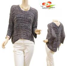 Women Purple Hi-Lo Pullover 3/4 Sleeve Crochet Knit Sweater Blouse Top S M L XL