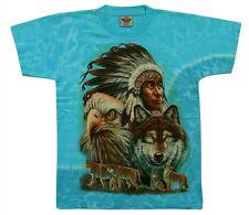 T-Shirt türkis blau Indianer+Adler+Wolf Gr.M, L, Wölfe Häuptling Cowboy Biker
