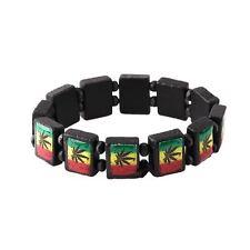 Pot Leaf Black Wood Bracelet Rasta Style Flag Gift Idea 420 Weed Ganja Cannabis