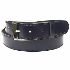 35mm Azul Marino Pantalón Cinturón de Cuero Genuino para Hombre Cinturón De Cuero Hebilla De Plata Hecho en Reino Unido