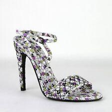 Bottega Veneta Women's Green/Purple Leather Ankle Strap Floral Heels 430539 8404
