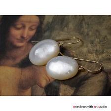 Solid Gold 18k 14k Mother of Pearl Earrings Oval Drop Earrings Hook or Leverback
