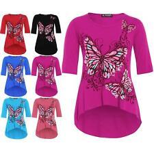 Plus Size Ladies Womens 3/4 Sleeves Butterfly Print High Low Tunic Dip Hem Top