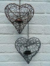 Heart Tea light Candle Holders Garden Lanterns - Bronze & Silver Hearts Assorted