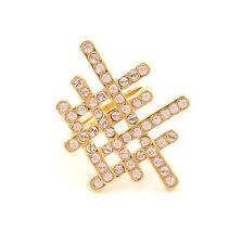 Zest Swarovski Crystals Golden Grid Ring Clear