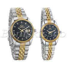 Men's Women's Luxury Luminous Rhinestone Stainless Steel Wristband Couples Watch