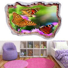 Beau Papillon Fleurs Soleil D'été 3D Smashed applique murale vue Mural Art 575