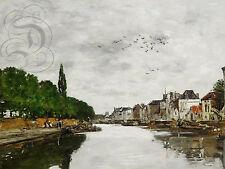 PLAQUE ALU REPRODUISANT UNE PEINTURE EUGENE BOUDIN CANAL VERS BRUXELLES 1871