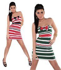 Abito donna vestito miniabito fascia righe bow fiocco bicolore bottoni nuovo