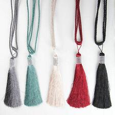 Diamante Tassel Tie Backs Tie Rope Cord Pair Cream / Black / Wine / Teal /Silver