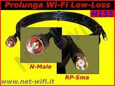 PROLUNGA CAVO PER ANTENNA WIRELESS WIFI RP-SMA : N-MALE 10 metri H155 wi-fi