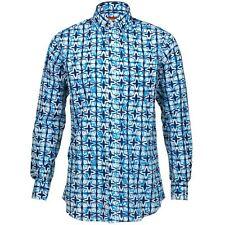 Hombre Chillón Camisa Retro Psicodélico Divertido Fiesta estándar azul blanco