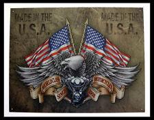 TARGHE QUADRI IN METALLO MADE IN USA DA COLLEZIONE, LEGENDS, MOTORCYCLES, EAGLE