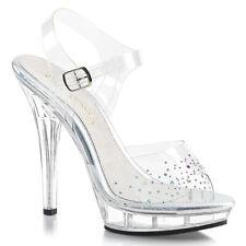"""Pleaser 5"""" platform rhinestone ankle strap sandals"""