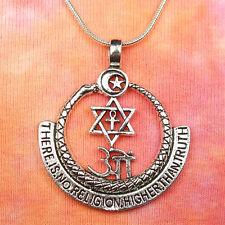 No Religion Higher Than Truth Ouroboros Crescent Moon Star David Ankh Om Pendant