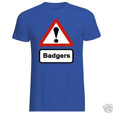 BADGERS T-SHIRT (Caution Road Sign Wild Animals Furry Fox Badger Weasel Deer)