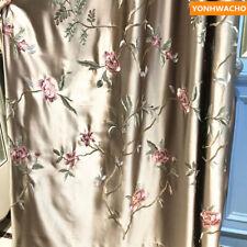 luxury simulation silk embroidered coffee American   curtain tulle drape B130*