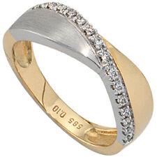 Damen Ring 585 Gold Gelbgold Weißgold bicolor matt 16 Diamanten Brillanten.