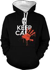 Keep Calm Zombie Blood Hand Print Joke Walking Poster Two Tone Hoodie Sweatshirt