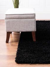 Cozy Plush Solid Black Thick Soft Shag Rug for Living Room