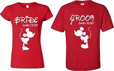 Just Married Groom ]Mickey & Bride Minnie matching tshirt Custom Date, Name