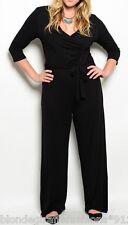 Black Jersey Ruched Bodice Front Long Pants Romper/Jumper/Jump Suit Plus Outfit