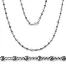Women's Stylish Italian 925 Silver Black Rhodium Bead Mesh Link Chain