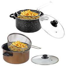 "Non Stick Chip Pan Deep Fat Fryer Cooking Pot Frying Basket With Lid Set 24cm 9"""