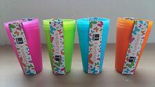 Paquete de cuatro Bello De Plástico Naranja Picnic Vasos Azul Rosa Verde Gran valor!