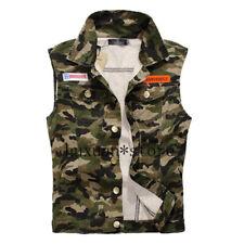 Men's Denim Vest Vintage Jeans Army Military Cowboy Camouflage Jackets Plus Size