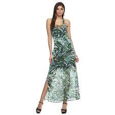 Women's Jennifer Lopez Lace-Up Halter Maxi Dresses,Size 0,2,6,16,Green/Multi,NWT