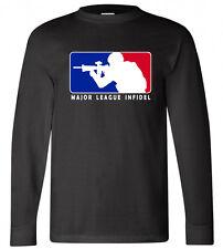 New MLI Major League Infidel Army Logo Long Sleeve Black T-shirt Size S-3XL