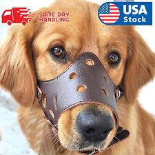 Adjustable Anti-biting Dog Soft Pu Leather Muzzles Mouth Mesh Cover Pets Mask