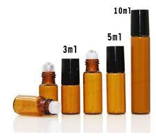 10X 3ml /5ml /10ml Amber Glass Roll On Bottle Roller Ball Perfume Essential Oil