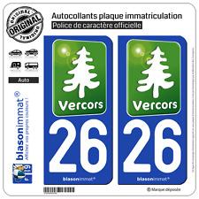 2 Stickers autocollant plaque immatriculation : 26 Vercors Tourisme Vert
