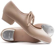 Girls Ladies Tan Nude PU Low Heel Tap Dance Shoes With Tap Plates Katz Dancewear