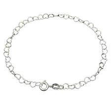 Link Bracelet Anklet Italy b187 Solid 925 Sterling Silver Heart