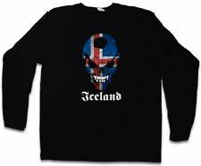 ICELAND FOOTBALL SKULL FLAG LANGARM T-SHIRT Fan Island Fußball Flagge Fahne
