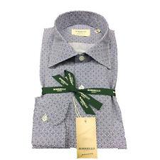 BORRIELLO NAPOLI camisa de hombre blanco/azul fantasía 100 % algodón
