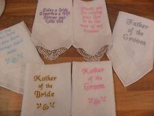 Ladies/Gents Personalised embroidered  Handkerchief Hankie-Bride-groom-Mum-Dad