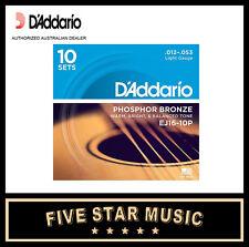 D'ADDARIO EJ16 10 PACK ACOUSTIC GUITAR STRING SETS 12-53 J16 NEW PRO DADDARIO