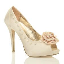 WOMENS LADIES HIGH HEEL WEDDING BRIDAL PEARL DIAMANTE FLOWER PEEP TOE SHOES SIZE